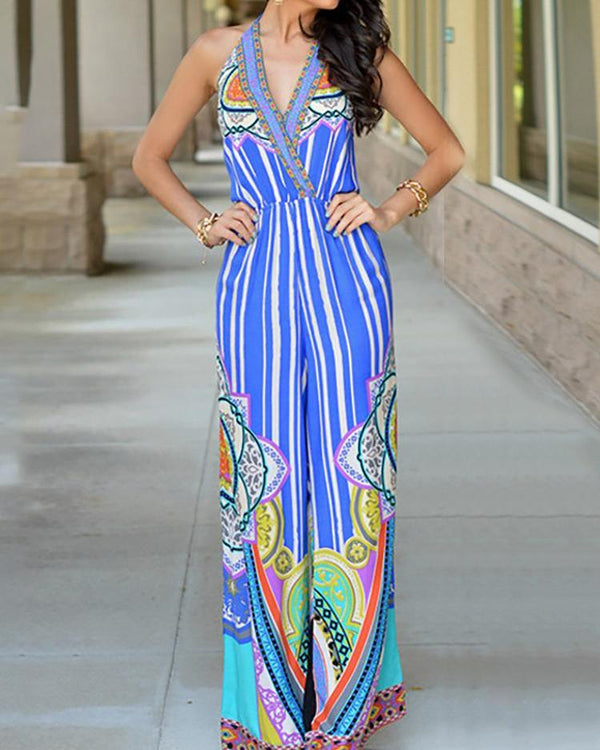 V Neck Halter Backless Wide Leg Jumpsuit