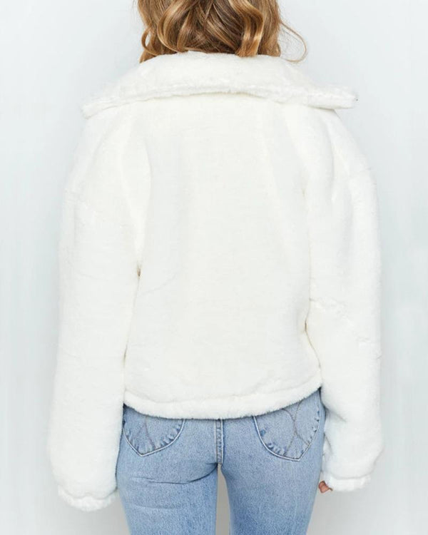 Solid Turn-down Collar Zipper Design Fluffy Coat