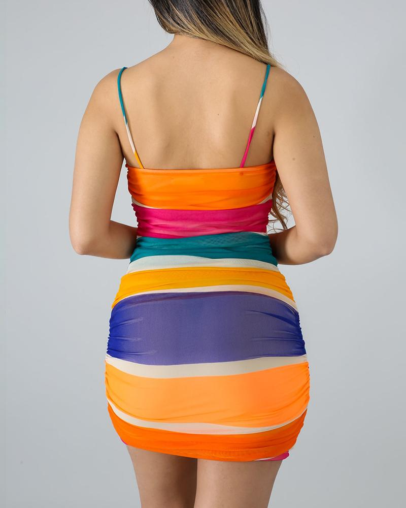 Colorful Spaghetti Strap Bodycon Dress