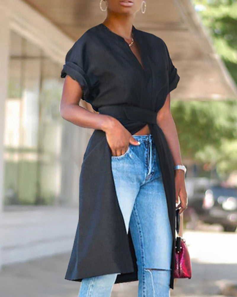 Casual Short Sleeve Belted Coat