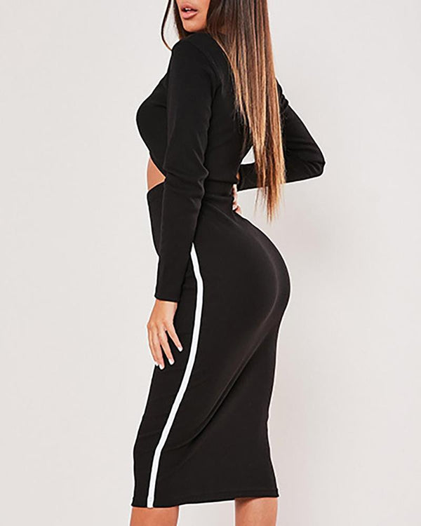 Colorblock Round Neck Long Sleeve Cut Out Waist Bodycon Dress
