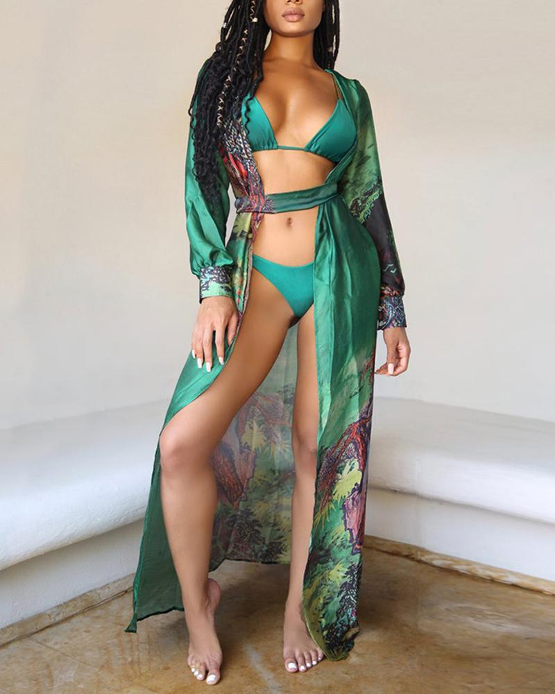 Three-piece Print Bikini Suit Bra Panties Long Sleeves Swimsuit