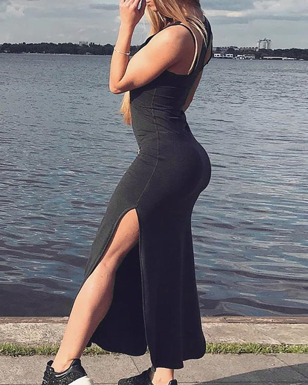 Sleeveless Slit Package Hip Long Dress