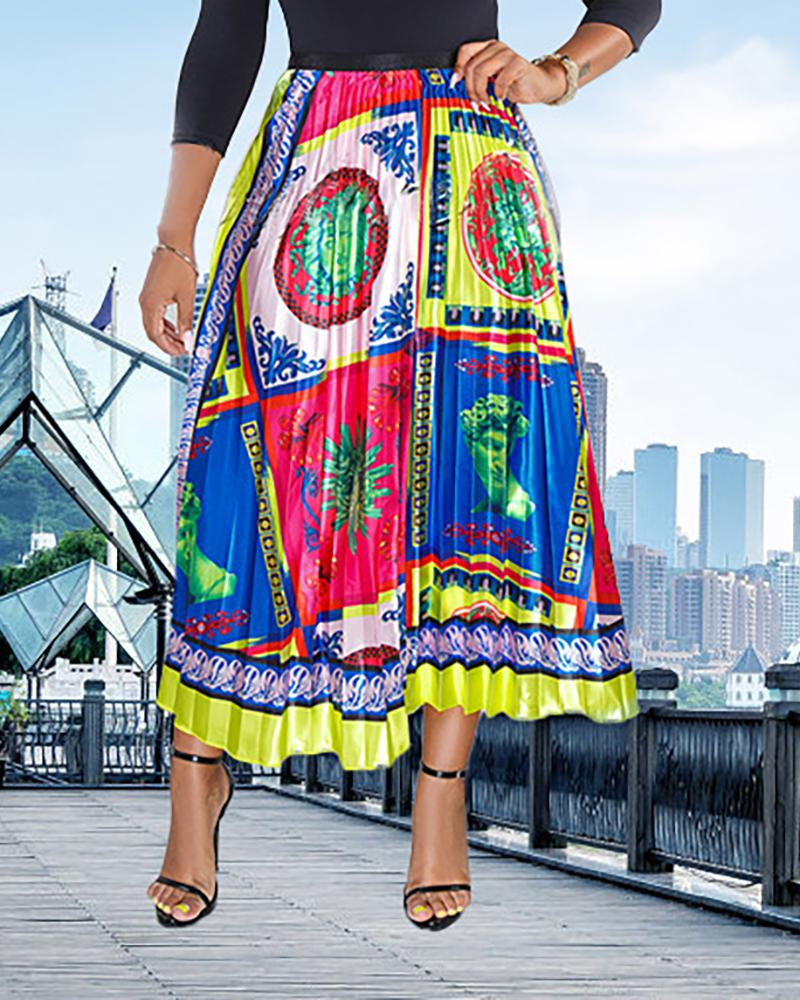 High Waist Colorful Print Pleated Skirts