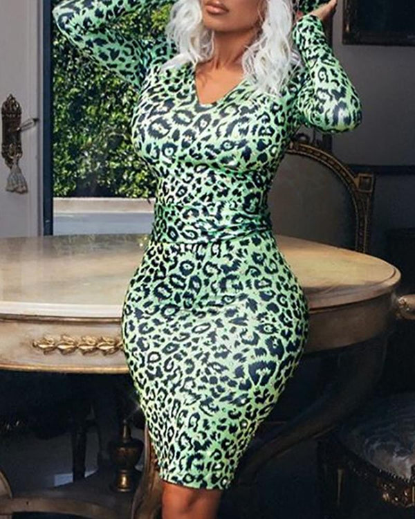Abstract Leopard Print Bodycon Dress
