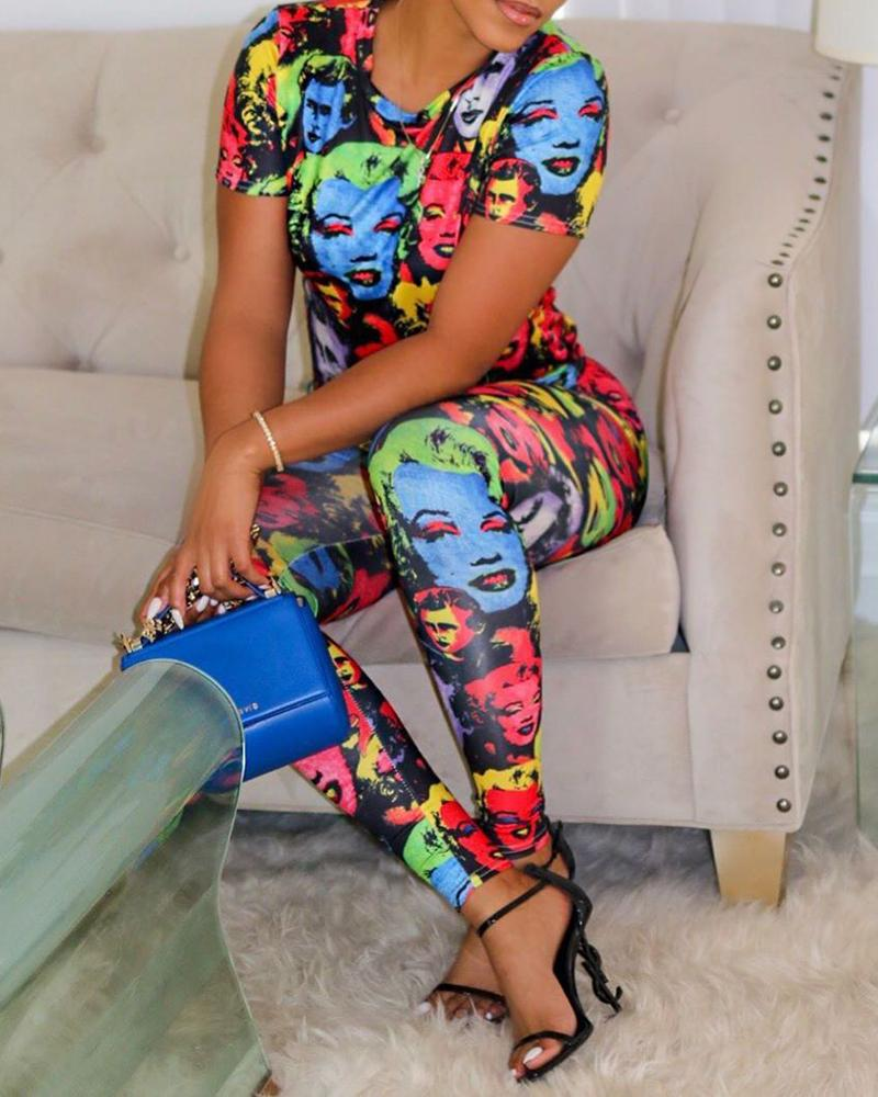Abstract Print Top & Pant Sets