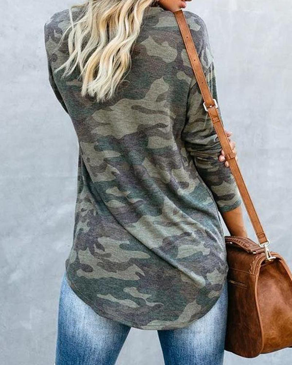 Oversized Camouflage Long Sleeve Top