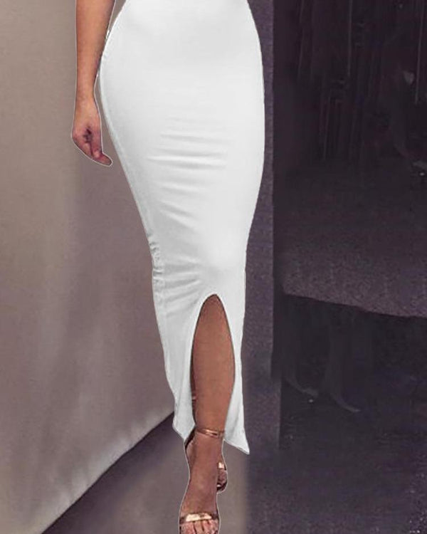 Solid Sleeveless Slit Front Maxi Dress