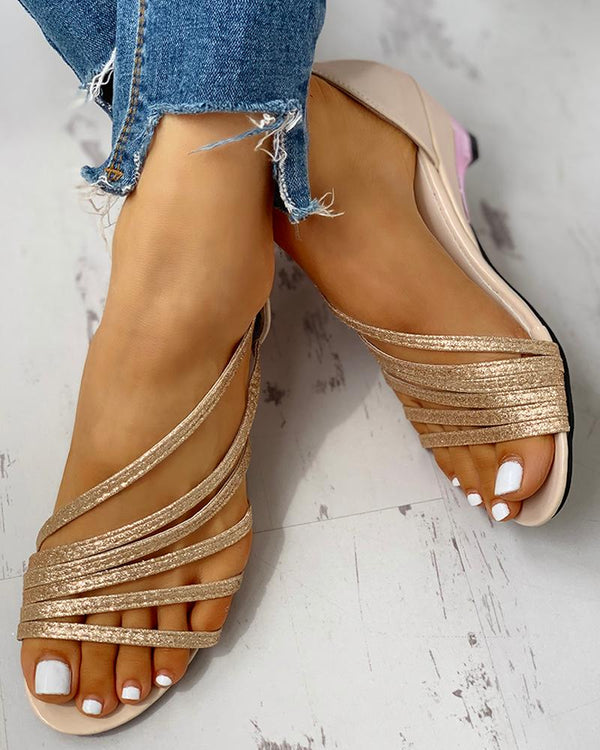 Rome Style Ribbon Glitter Heeled Sandals