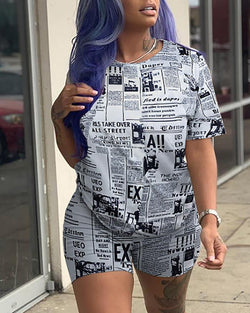 Letter Print Short Sleeve Tee Top With Shorts Sets