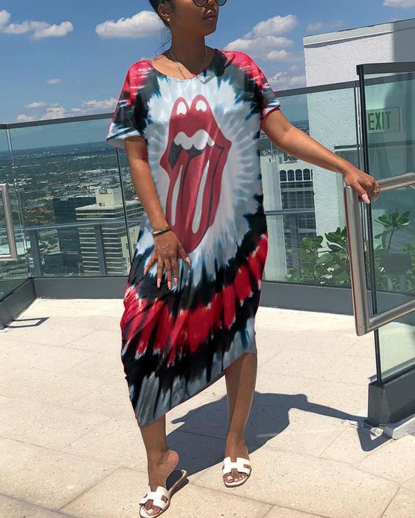 Tie Dye O Neck Short Sleeve Loose Long Dress