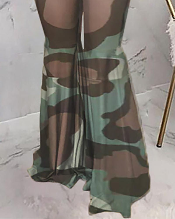High Waist Camouflage Bell-bottomed Pants