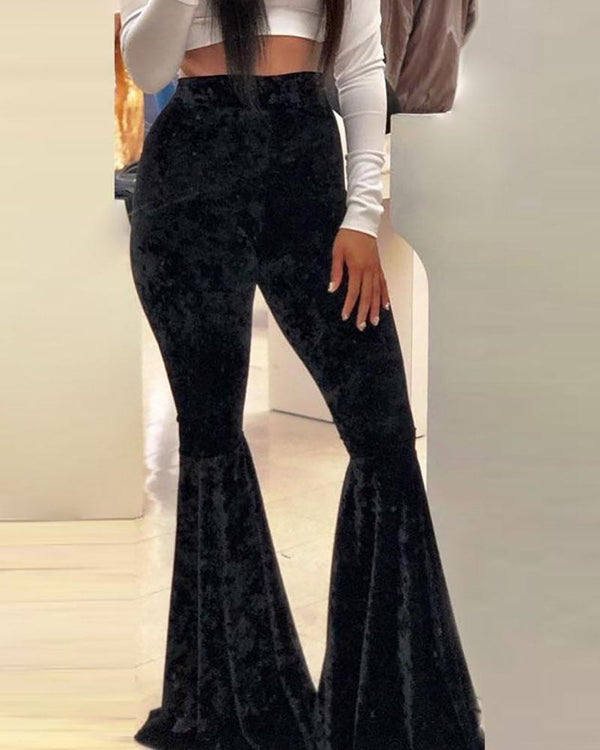 Solid High Waist Bell-bottomed Pants