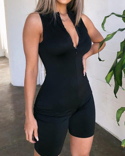 V-Neck Zipper Design Sleeveless Romper