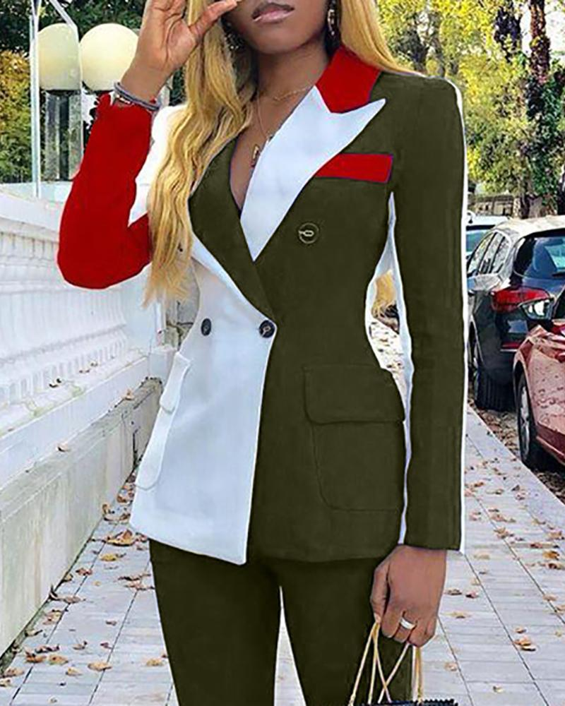 Colorblock Notched Collar Double-breasted Blazer & Pants Sets