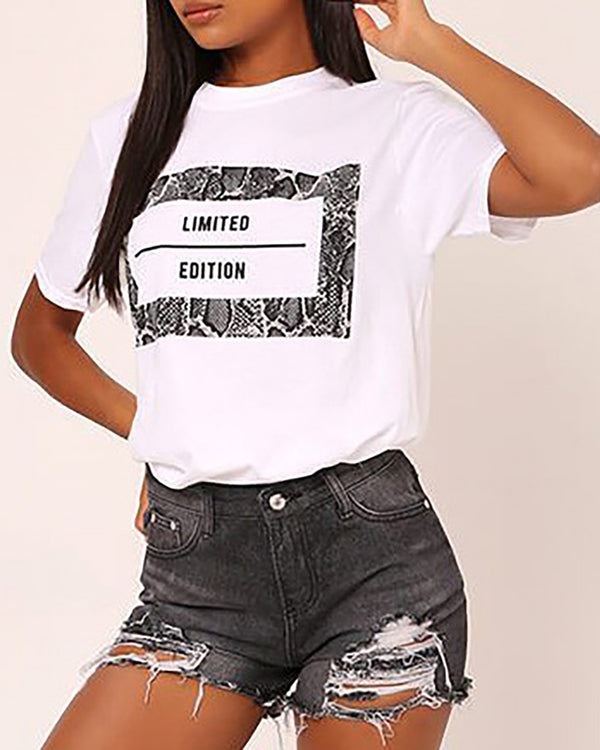 Short Sleeve Letter Print T-shirts