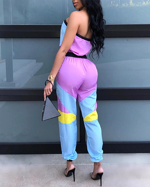 Casual Colorblock Tube Jumpsuit