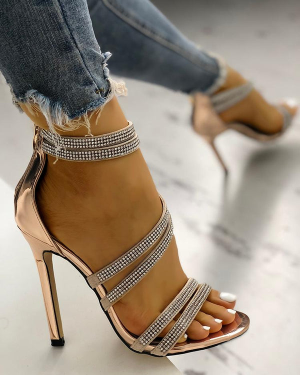 Hot Drilling Bandage Thin Heeled Sandals
