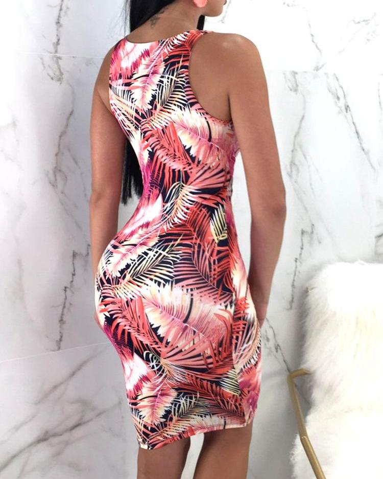 Tropical Print Cutout Tied Front Bodycon Dress