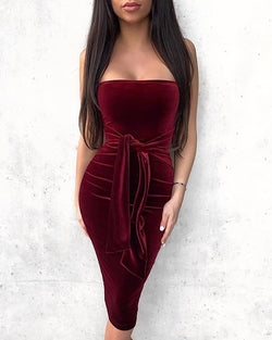 Solid Tube Sleeveless Tied Ruched Bodycon Dress