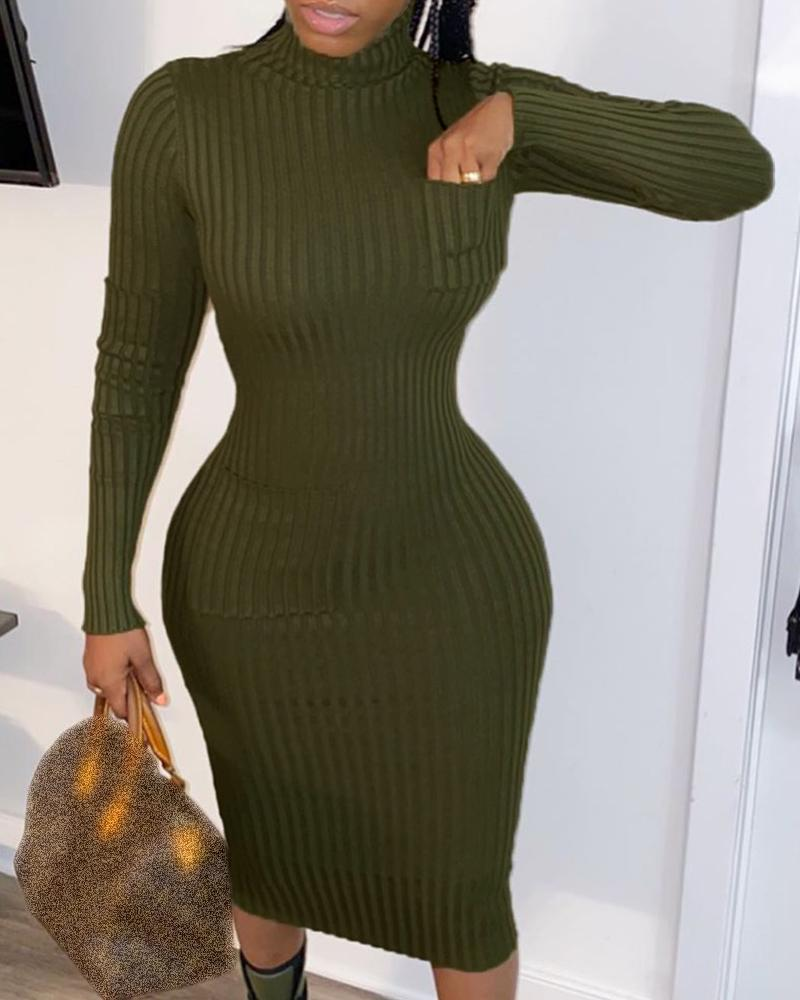 Solid Mock Neck Long Sleeve Ribbed Dress