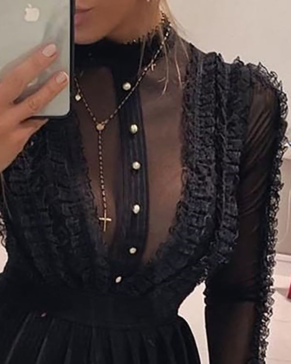Mock Neck Sheer Mesh Insert Ruffles Buttoned Dress