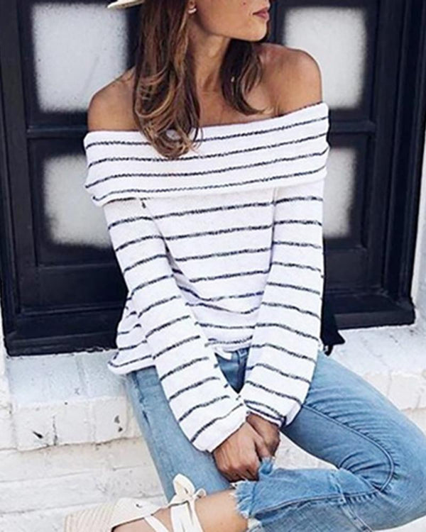 Striped Off Shoulder Casual Sweater