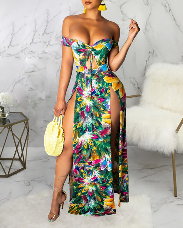 Off Shoulder Deep V Neck Floral Print Dress