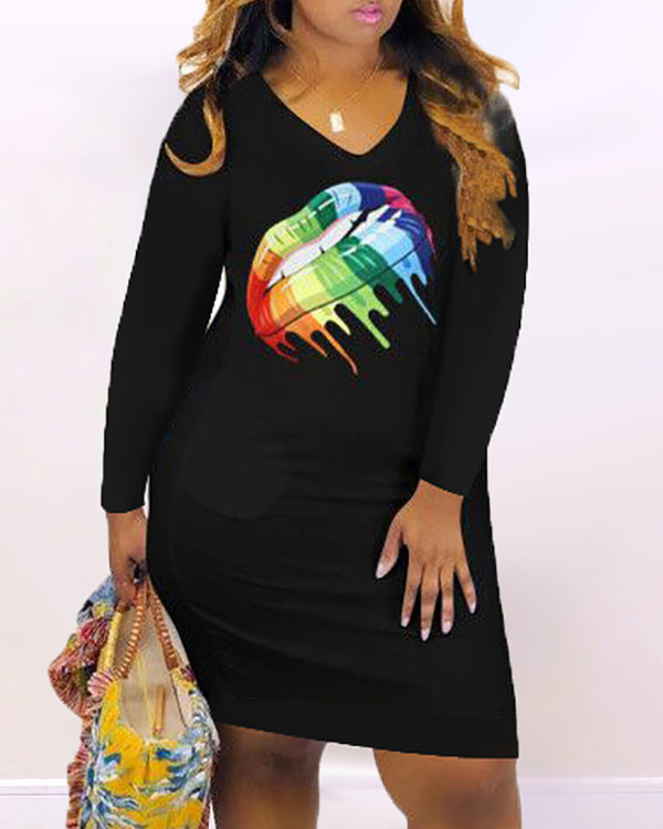 Mouth Pattern Long Sleeve Bodycon Dress
