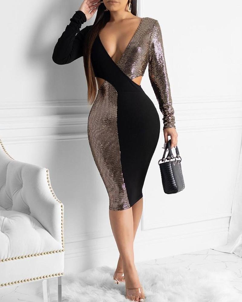 Plunge Colorblock Patchwork Bodycon Dress