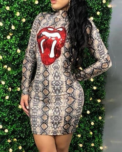 Lip Pattern Snakeskin Bodycon Dress
