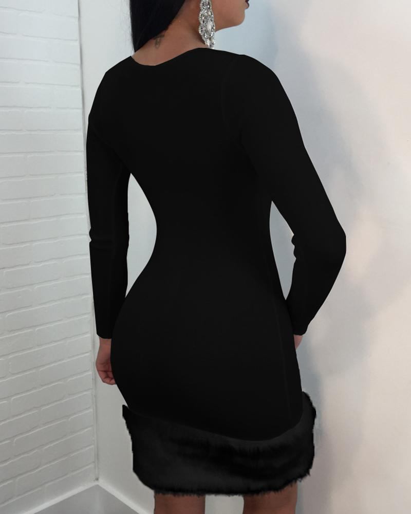 Solid Round Neck Long Sleeve Fur Insert Bodycon Dress