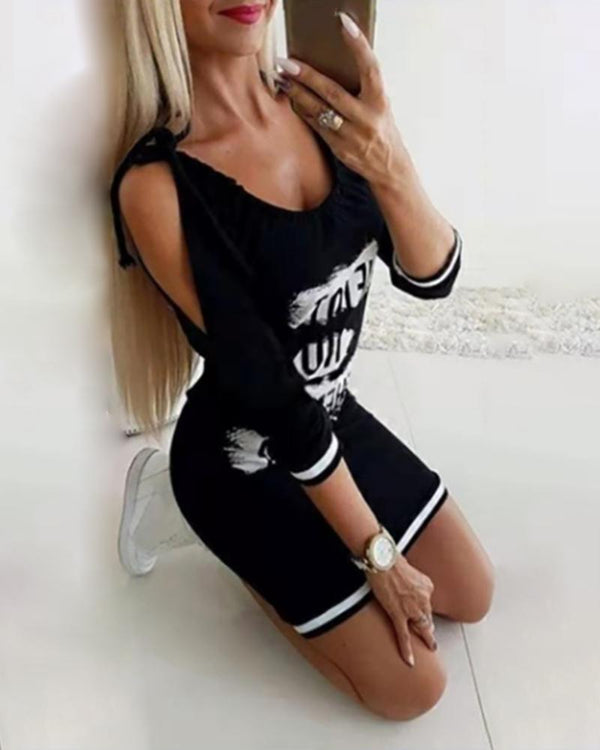 Tied Strap Letter Print Casual Dress