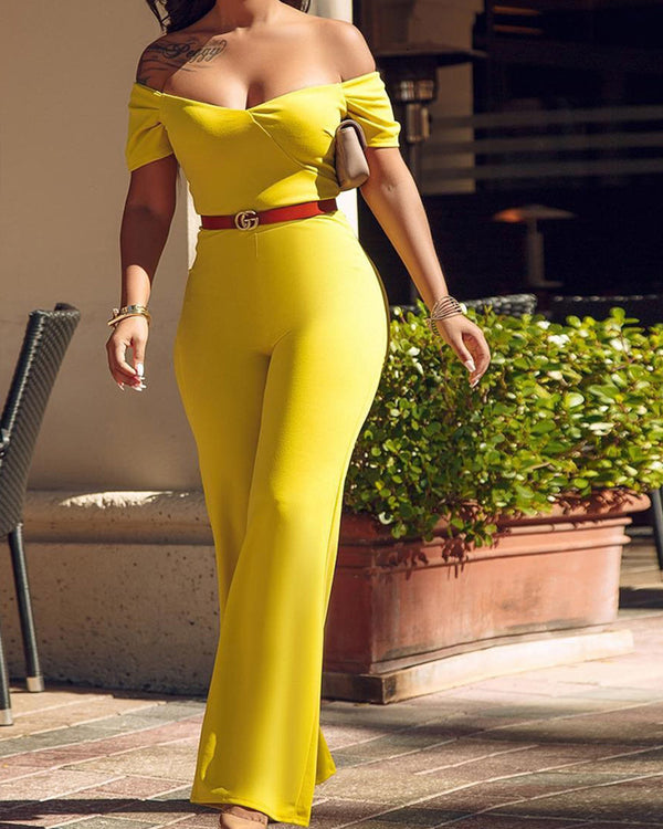 One Shoulder Short Sleeve Jumpsuit Wide Leg Pants