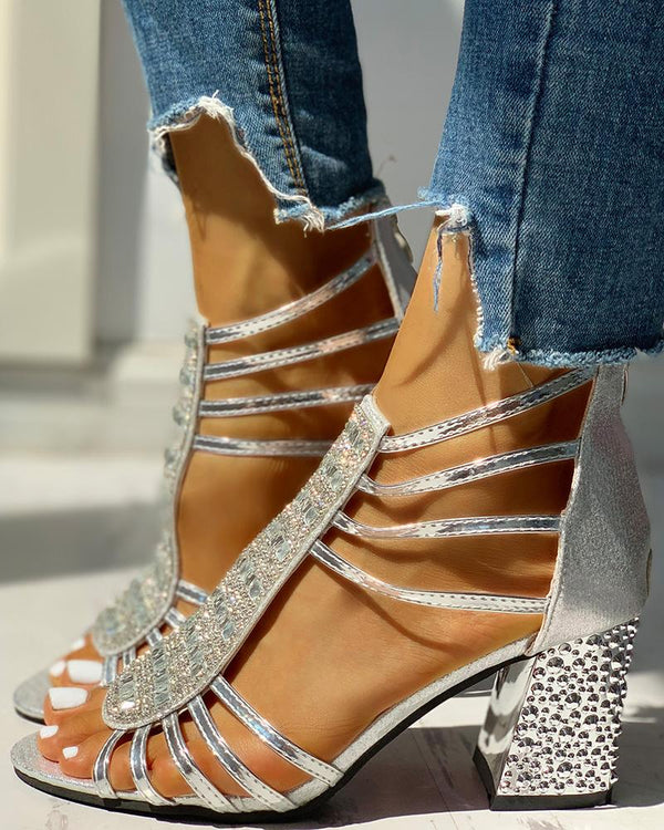 Studded Multi-Strap Chunky Sandals