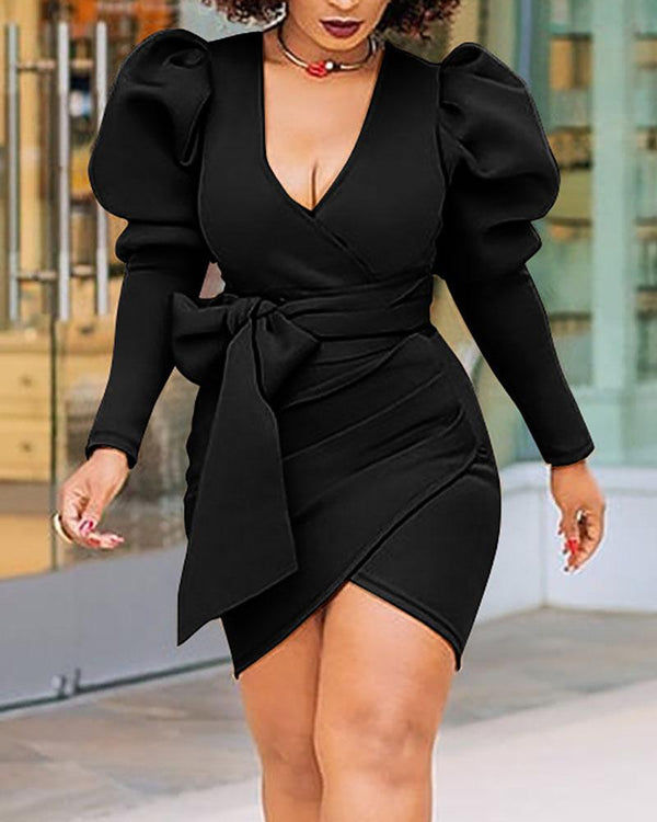 Lantern Sleeve Ruched Bodycon Skirt With Belt