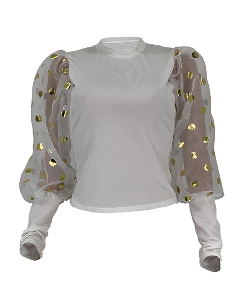 Sheer Mesh Puffed Sleeve Dot Blouse