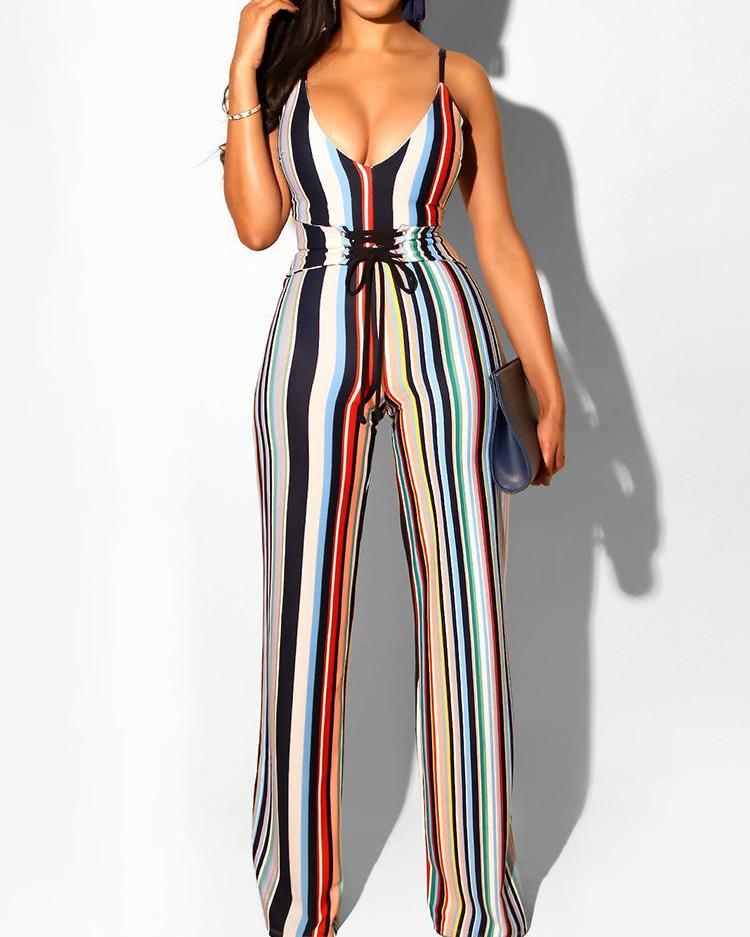 Vertical Stripes Lace-Up Spaghetti Strap Jumpsuit