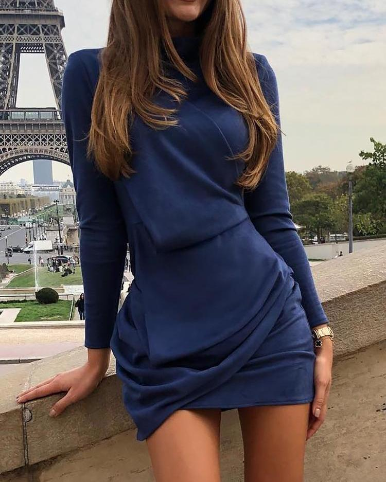Long Sleeve Ruched Design Bodycon Dress