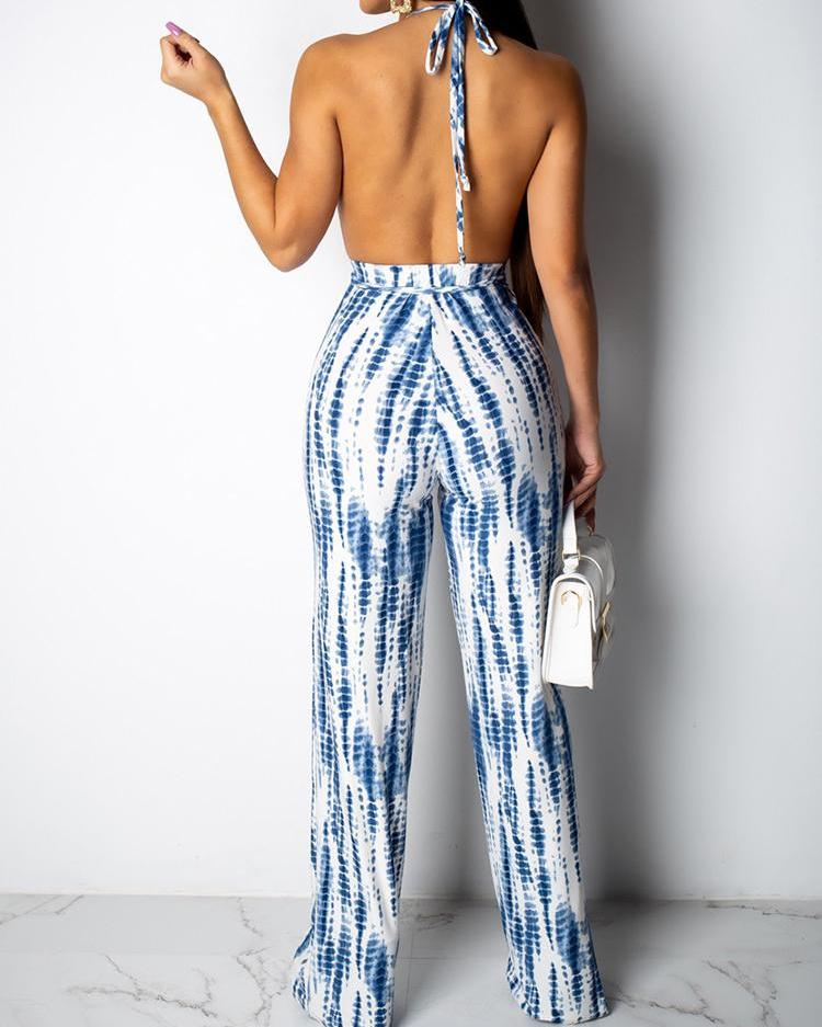 Tie Dye Print Cutout Open Back Jumpsuit