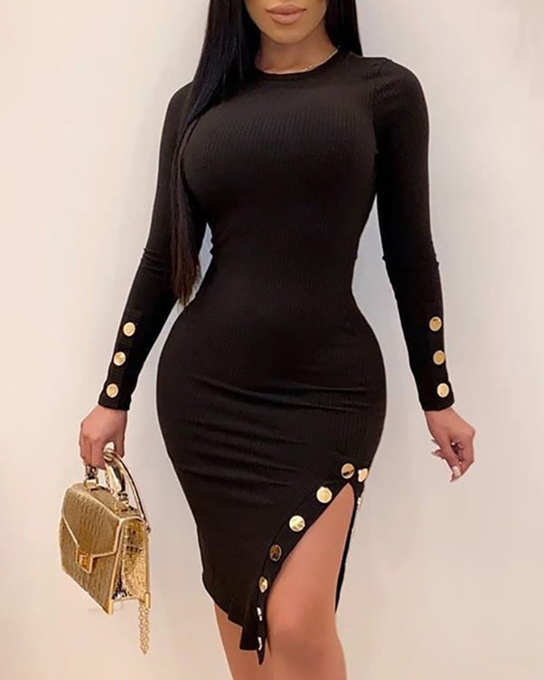 Round Neck Long Sleeve Popper Cuff Slit Bodycon Dress