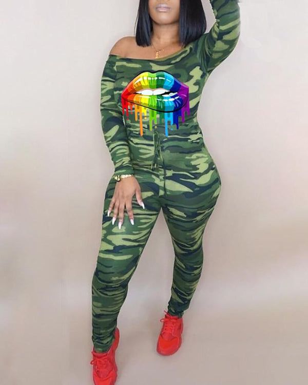 Camouflage Lips Print Drawstring Design Jumpsuit
