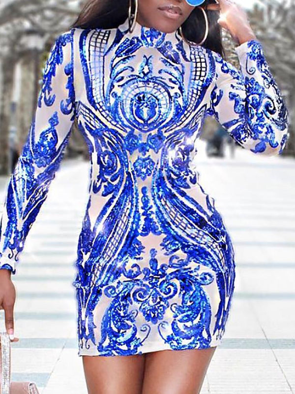 Baroque Long Sleeve Bodycon Sequin Party Dress