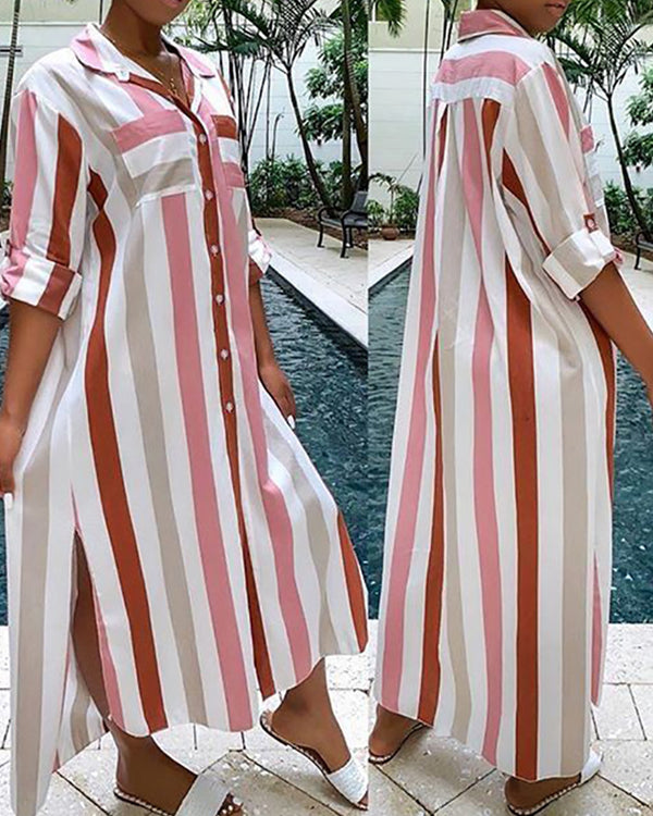 Striped Turn-down Collar Slit Shirt Dress