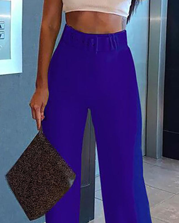 Solid High Waist Belted Pants