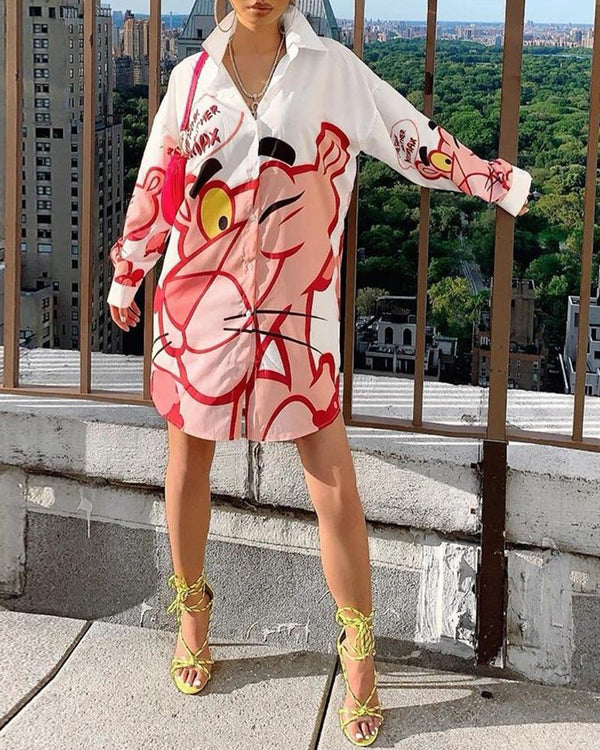 Cartoon Pattern Print Notched Oversize Shirt Dress