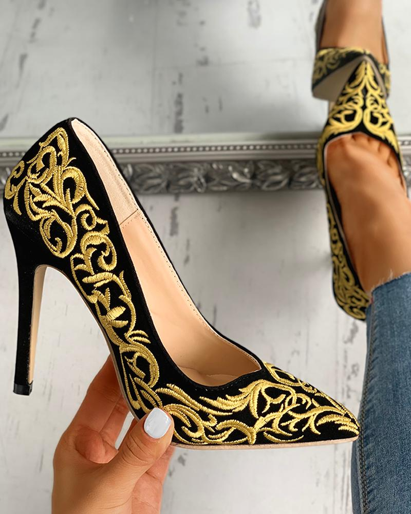 Pointed Toe Embroidery Thin Heels