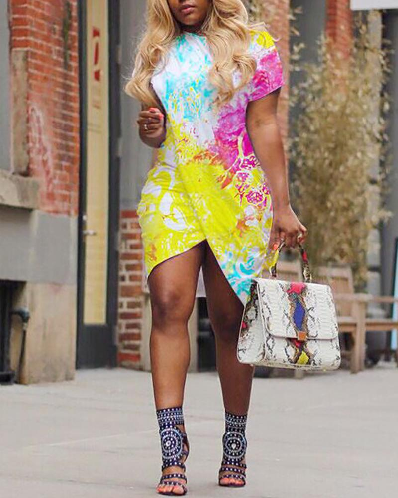 Tie Dye Print Crisscross Irregular Dress
