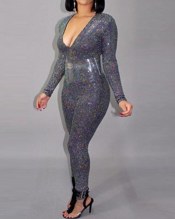 Sequined Backless Plunge Jumpsuit
