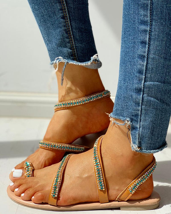 Studded Multi-strap Toe Ring Flat Sandals
